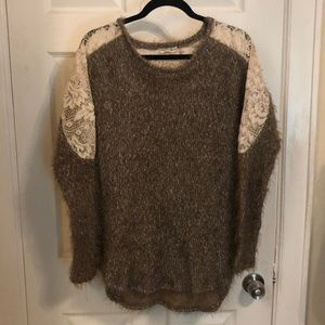 Lace and fuzzy sweater